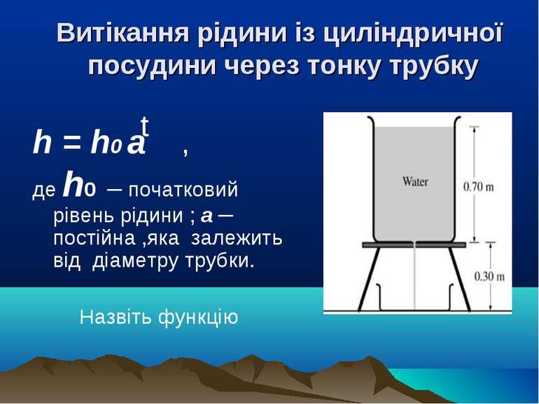 Витікання рідини із циліндричної посудини через тонку трубку h = h0 а , де h0...