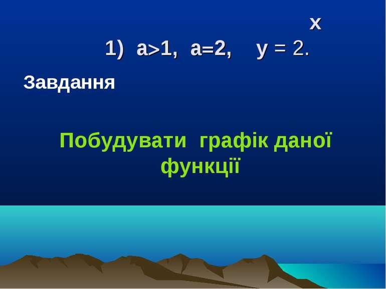 х 1) a>1, a=2, y = 2. Завдання Побудувати графік даної функції