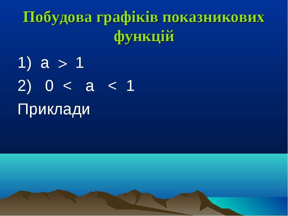 Побудова графіків показникових функцій 1) a > 1 2) 0 < a < 1 Приклади