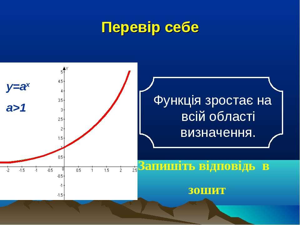 Перевір себе Функція зростає на всій області визначення. Запишіть відповідь в...