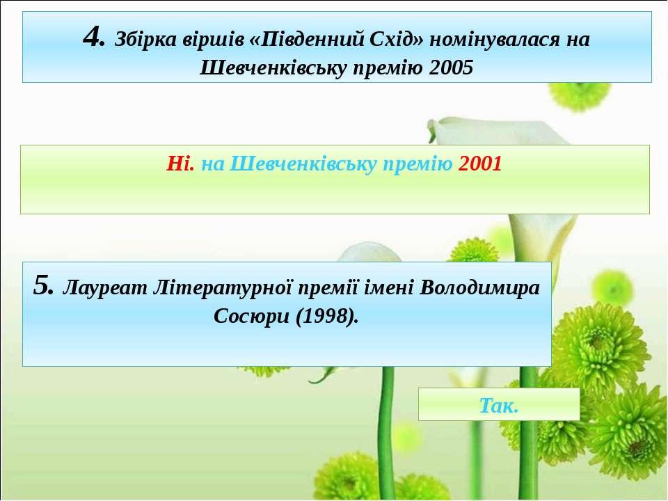 4. Збірка віршів «Південний Схід» номінувалася на Шевченківську премію 2005 Н...