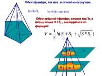 S1+ S2+ S3 S1 S2 S3 h V=1/3*(S1+ S2+ S3)*h Обєм піраміди, яка має в основі мн...