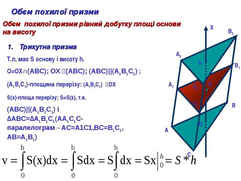 A A1 A2 B B1 B2 C C1 C2 O X h X Обєм похилої призми Обєм похилої призми рівни...