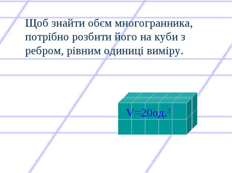 Щоб знайти обєм многогранника, потрібно розбити його на куби з ребром, рівним...