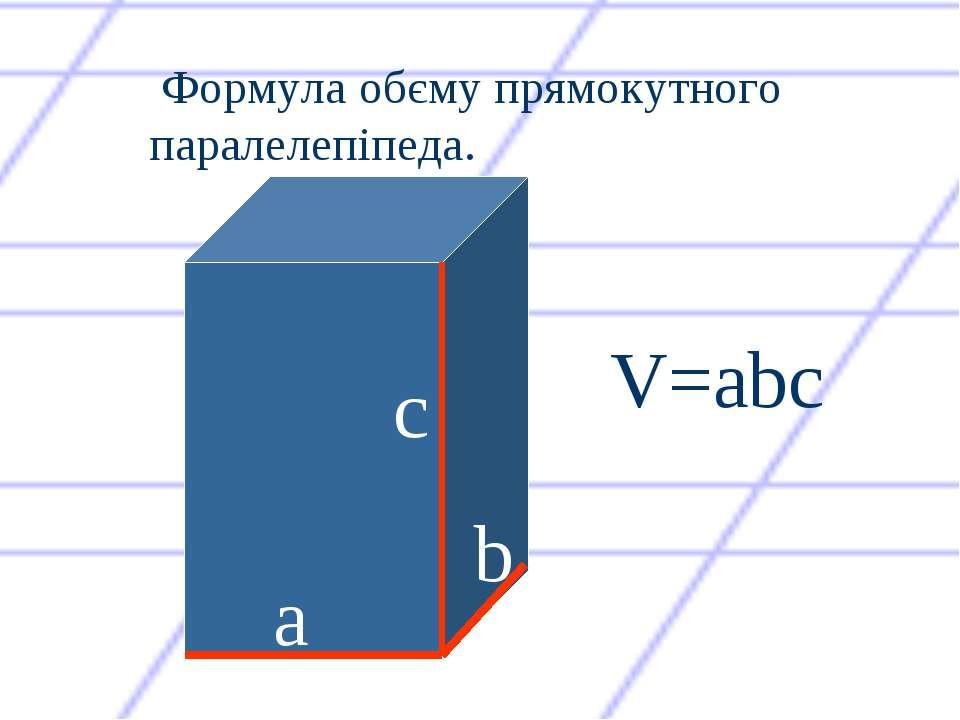 с а b V=abc Формула обєму прямокутного паралелепіпеда.