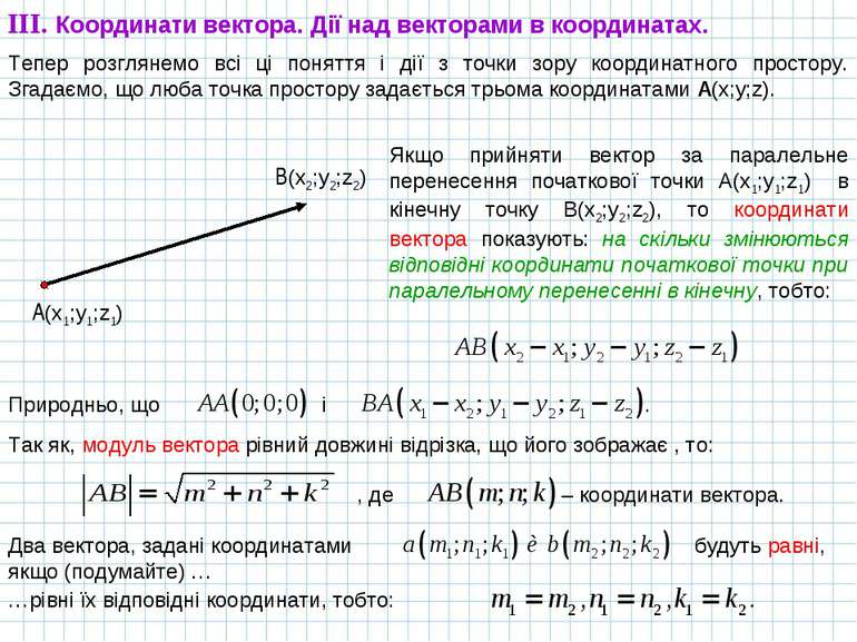 Тепер розглянемо всі ці поняття і дії з точки зору координатного простору. Зг...