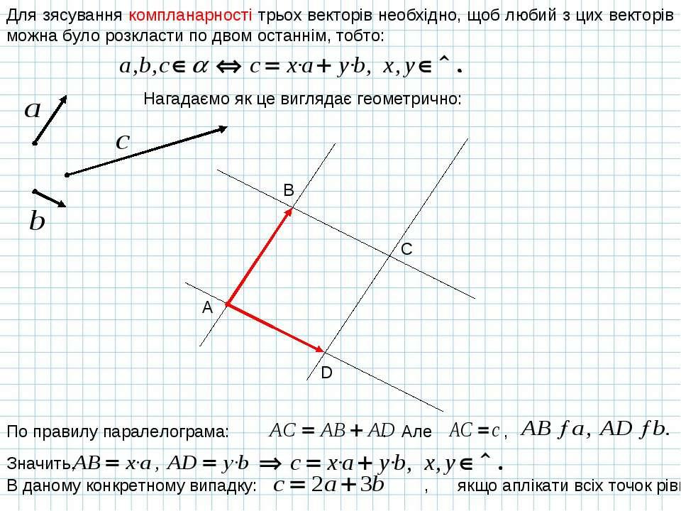 Для зясування компланарності трьох векторів необхідно, щоб любий з цих вектор...