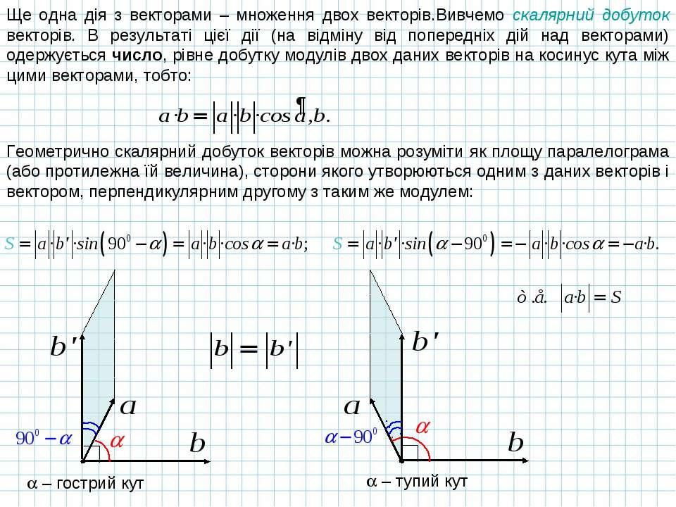 Ще одна дія з векторами – множення двох векторів.Вивчемо скалярний добуток ве...