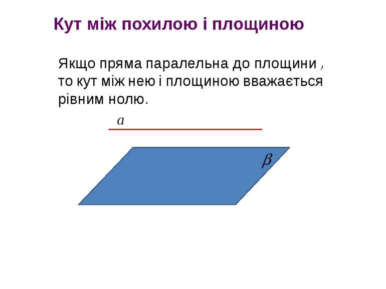 Якщо пряма паралельна до площини , то кут між нею і площиною вважається рівни...