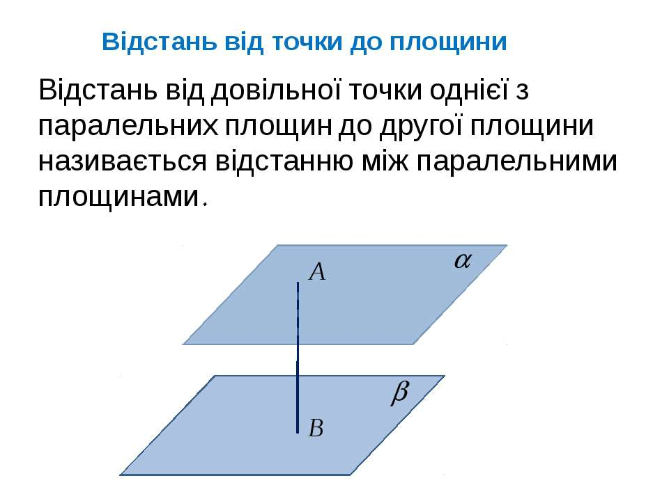 Відстань від точки до площини Відстань від довільної точки однієї з паралельн...