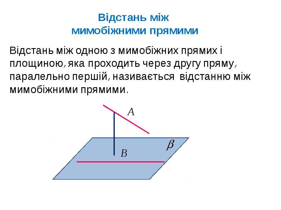 Відстань між мимобіжними прямими Відстань між одною з мимобіжних прямих і пло...