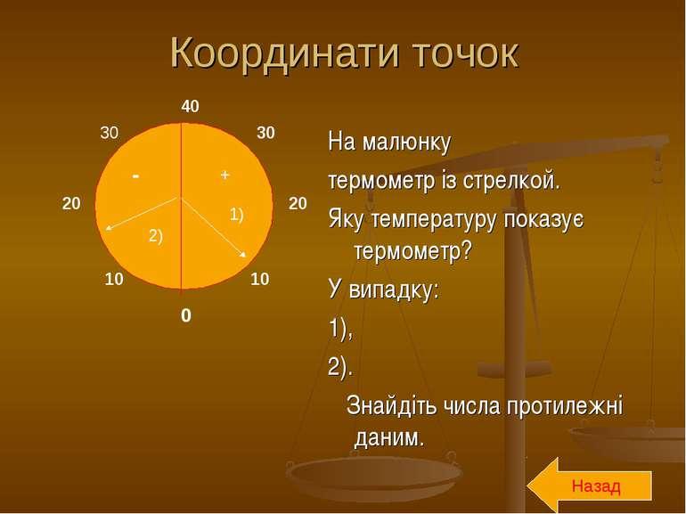 Координати точок На малюнку термометр із стрелкой. Яку температуру показує те...