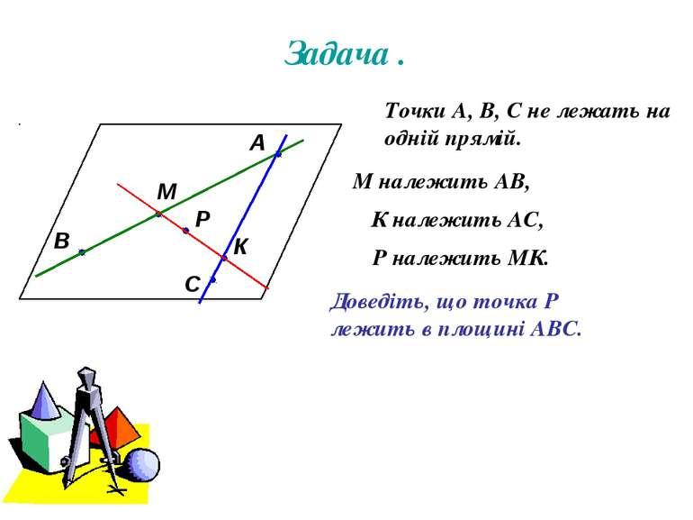 Задача . А В С М К Р Точки А, В, С не лежать на одній прямій. М належить АВ, ...