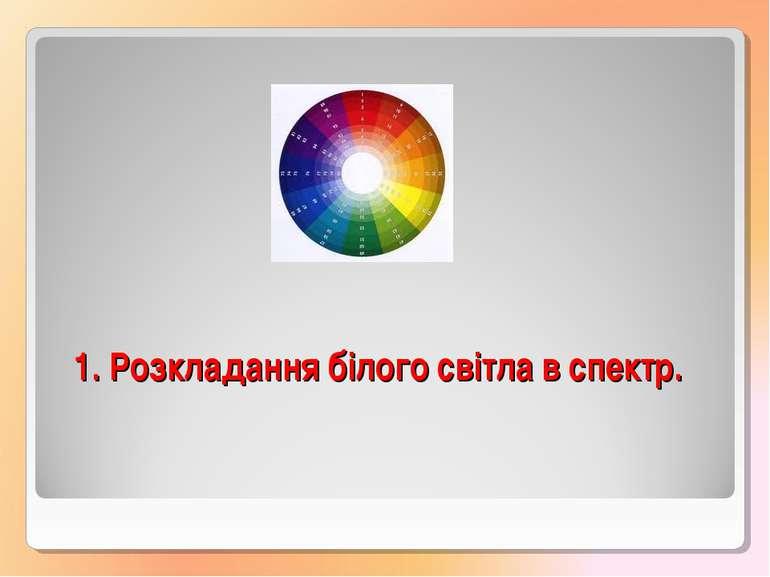 1. Розкладання білого світла в спектр.