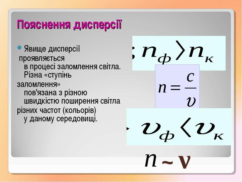 Пояснення дисперсії Явищедисперсії проявляється впроцесізаломлення світла...