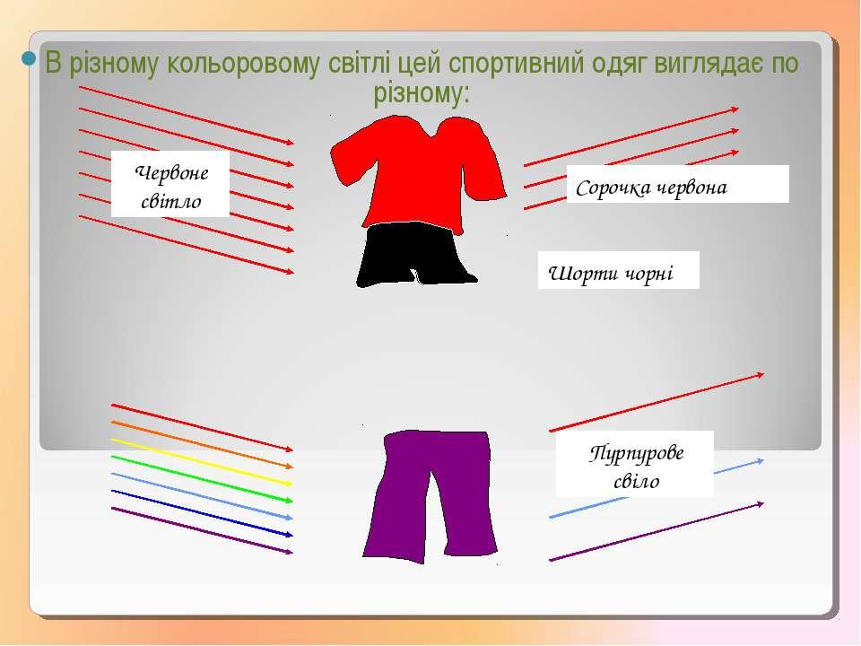 В різному кольоровому свiтлі цей спортивний одяг виглядає по різному: Чeрвоне...
