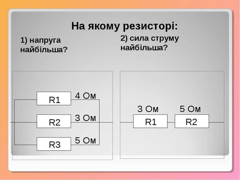 R1 R2 R3 4 Ом 3 Ом 5 Ом R1 R2 3 Ом 5 Ом На якому резисторі: 1) напруга найбіл...