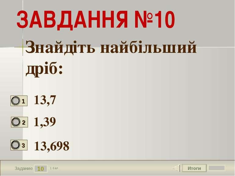 Итоги 10 Задание 1 бал. ЗАВДАННЯ №10 13,7 1,39 13,698 Знайдіть найбільший дріб: