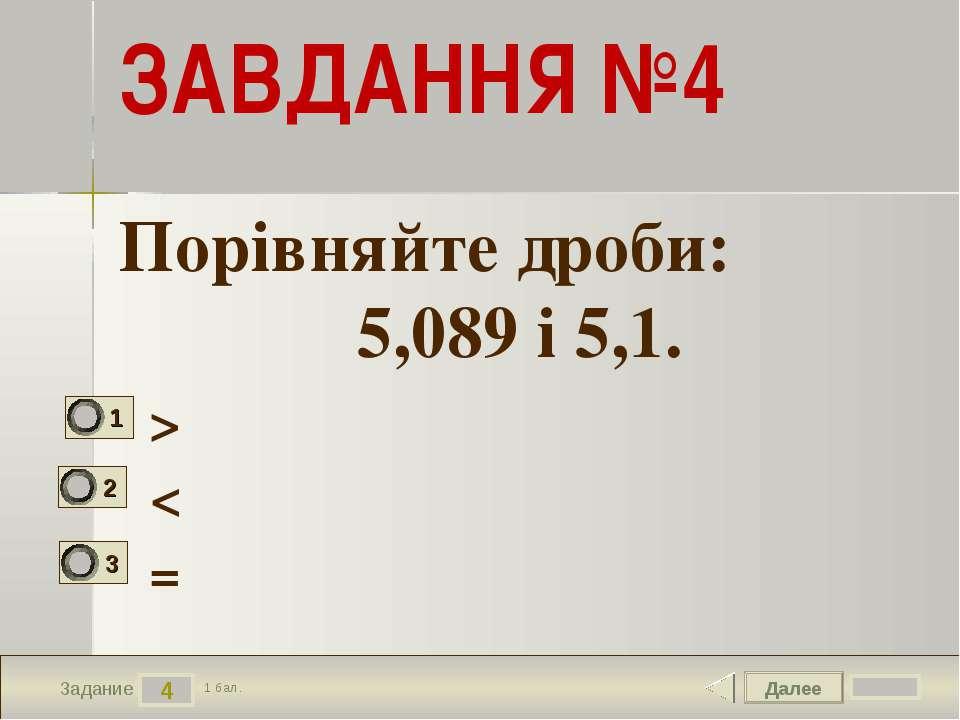 Далее 4 Задание 1 бал. ЗАВДАННЯ №4 > < = Порівняйте дроби: 5,089 і 5,1.