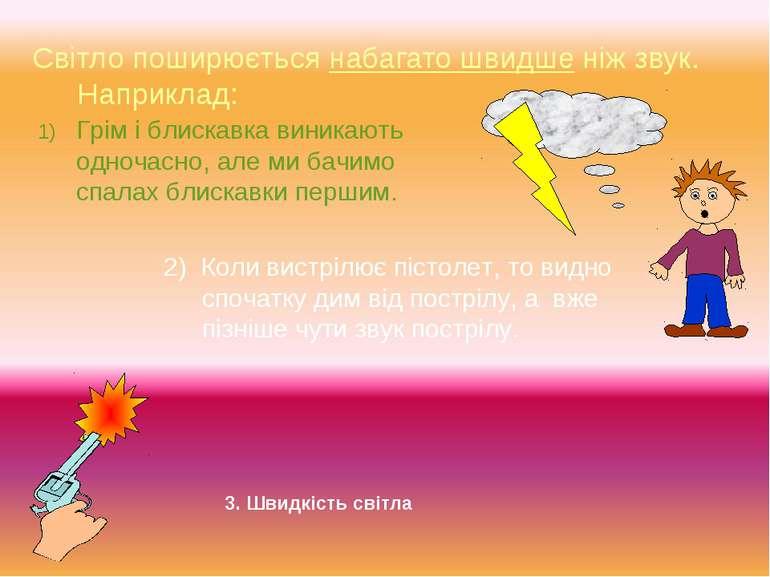 Світло поширюється набагато швидше ніж звук. Наприклад: Грім і блискавка вини...