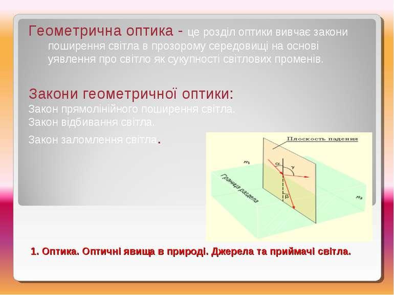 Геометрична оптика - це розділ оптики вивчає закони поширення світла в прозор...