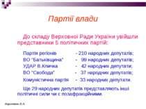 Партії влади До складу Верховної Ради України увійшли представники 5 політичн...