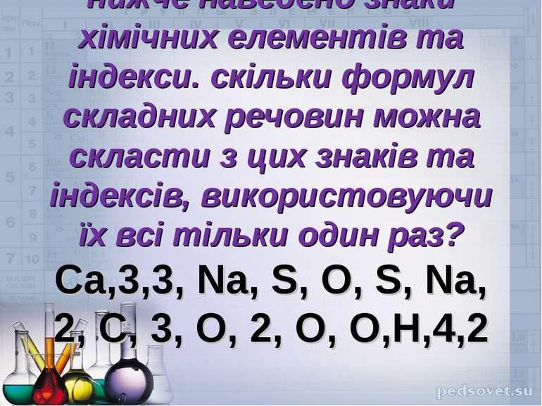 нижче наведено знаки хімічних елементів та індекси. скільки формул складних р...