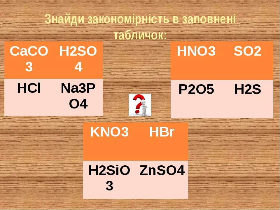 Знайди закономірність в заповнені табличок: CaCO3 H2SO4 HCl Na3PO4 HNO3 SO2 P...