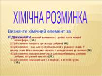 Визначте хімічний елемент за підказками 1.Цей елемент основний компонент сумі...