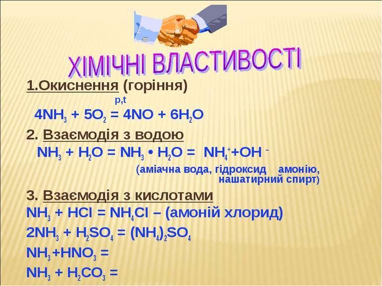 1.Окиснення (горіння) p,t 4NH3 + 5O2 = 4NO + 6H2O 2. Взаємодія з водою NH3 + ...