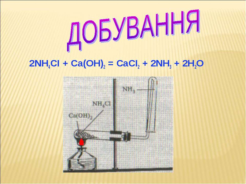 2NH4CI + Ca(OH)2 = CaCI2 + 2NH3 + 2H2O