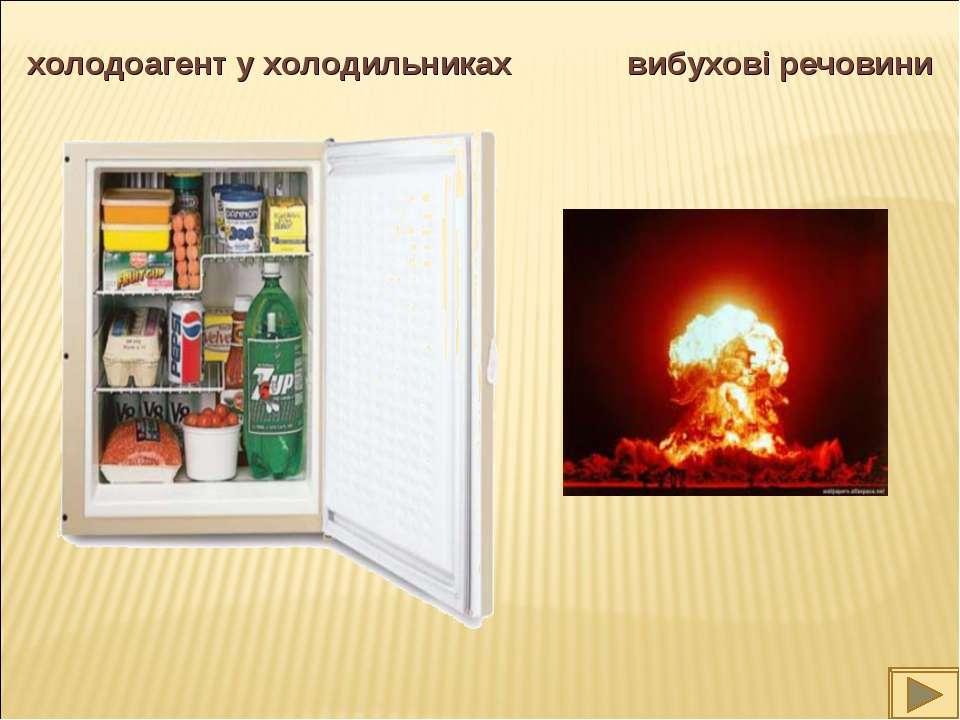 холодоагент у холодильниках вибухові речовини