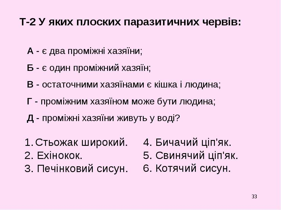 * Т-2 У яких плоских паразитичних червів: Стьожак широкий. 2. Ехінокок. 3. Пе...