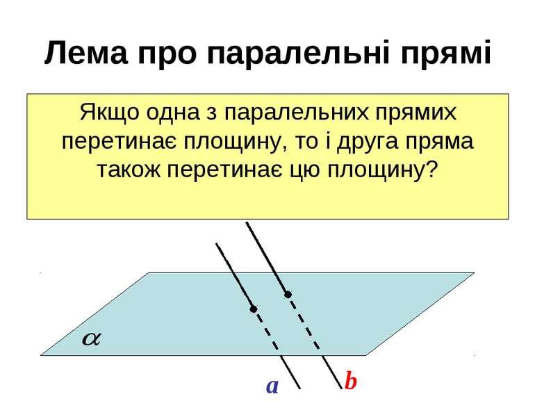 Лема про паралельні прямі Якщо одна з паралельних прямих перетинає площину, т...