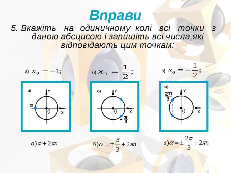 5. Вкажіть на одиничному колі всі точки з даною абсцисою і запишіть всі числа...