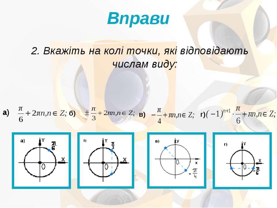 2. Вкажіть на колі точки, які відповідають числам виду: Вправи