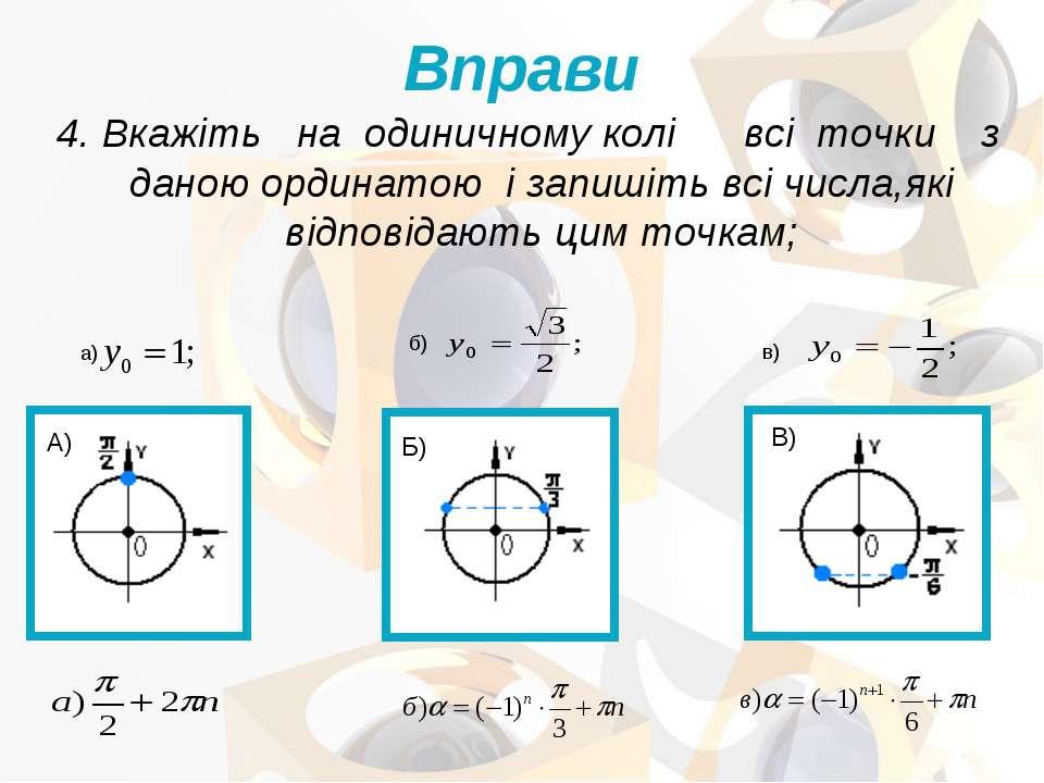 4. Вкажіть на одиничному колі всі точки з даною ординатою і запишіть всі числ...