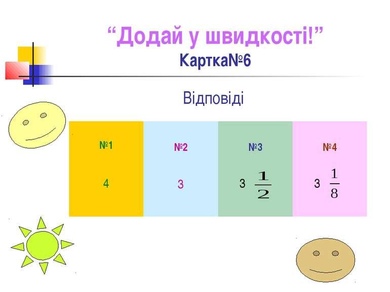 """""""Додай у швидкості!"""" Картка№6 Відповіді №1 №2 №3 №4 4 3 3 3"""