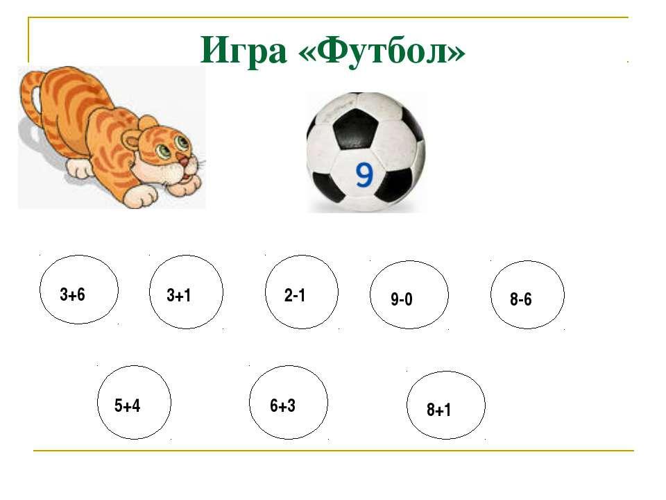 Игра «Футбол» 3+6 3+1 2-1 9-0 8-6 5+4 6+3 8+1
