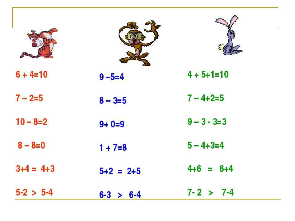 6 + 4=10 7 – 2=5 10 – 8=2 8 – 8=0 3+4 = 4+3 5-2 > 5-4 9 –5=4 8 – 3=5 9+ 0=9 1...