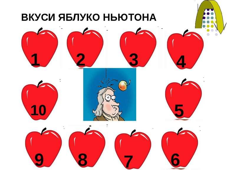 6 3 ВКУСИ ЯБЛУКО НЬЮТОНА 1 2 4 5 7 8 9 10 10