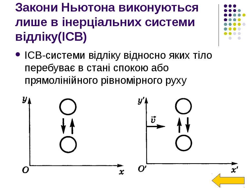 Закони Ньютона виконуються лише в інерціальних системи відліку(ІСВ) ІСВ-систе...