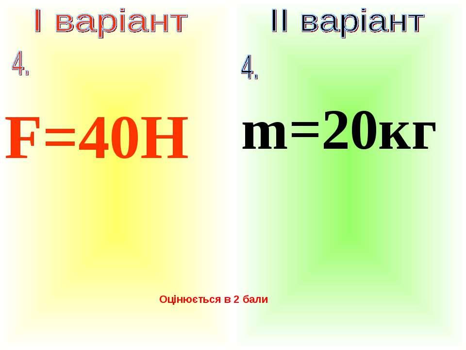 F=40Н m=20кг Оцінюється в 2 бали