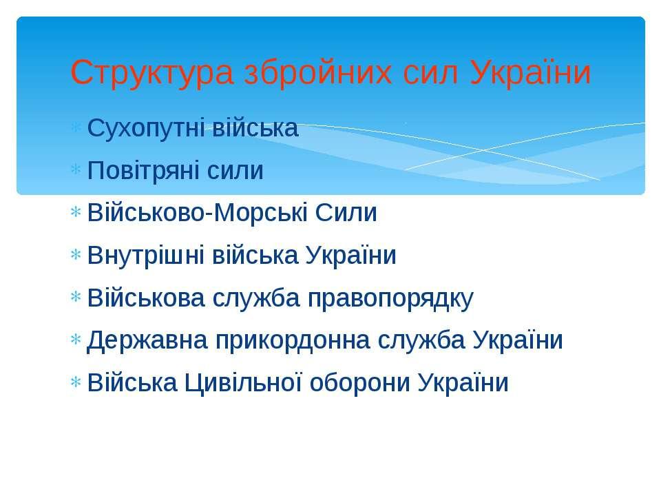 Сухопутні війська Повітряні сили Військово-Морські Сили Внутрішні війська Укр...