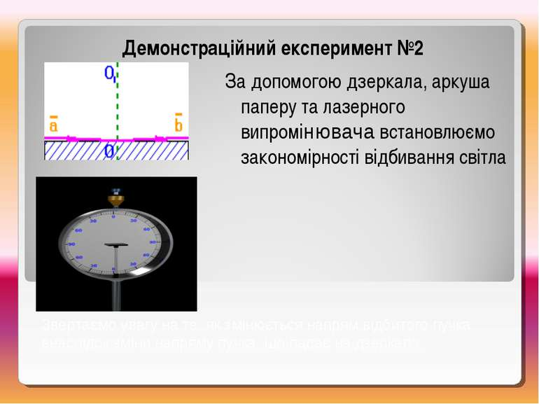 Демонстраційний експеримент №2 За допомогою дзеркала, аркуша паперу та лазерн...