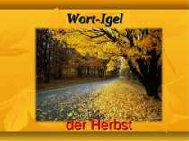 Wort-Igel der Herbst