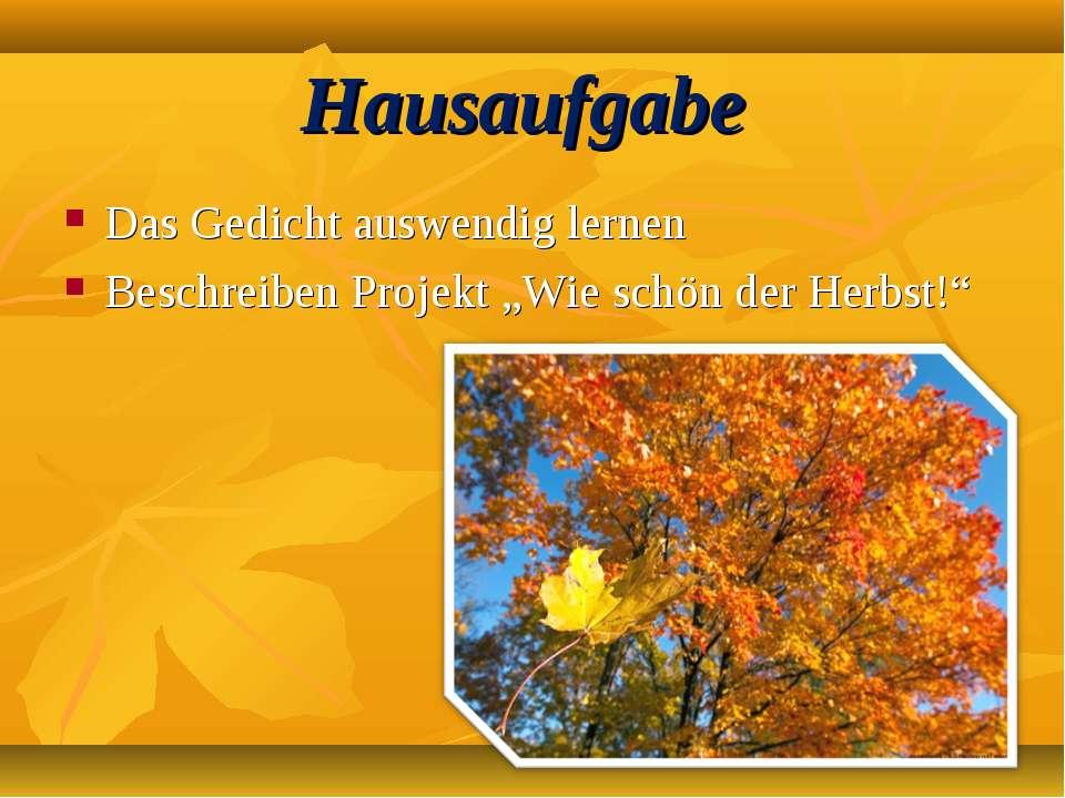 """Hausaufgabe Das Gedicht auswendig lernen Beschreiben Projekt """"Wie schön der H..."""