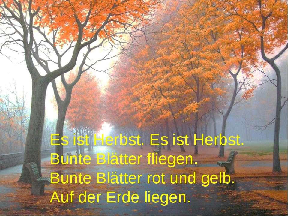 Es ist Herbst. Es ist Herbst. Bunte Blätter fliegen. Bunte Blätter rot und ge...