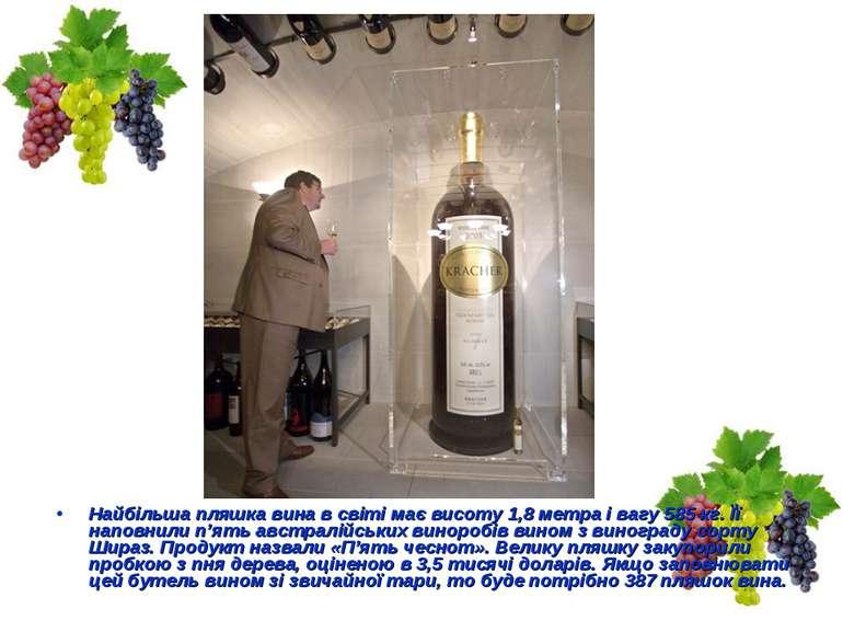 Найбільша пляшка вина в світі має висоту 1,8 метра і вагу 585 кг. Її наповнил...
