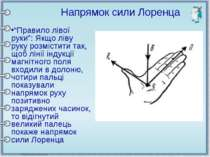 """""""Правило лівої руки"""": Якщо ліву руку розмістити так, щоб лінії індукції магні..."""